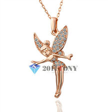 18K Rose Gold Plated Swarovski Crystal Elegant Tinkerbell Angel Pendant Necklace