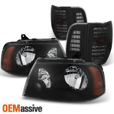 03-06 Lincoln Navigator Black Headlights + Black Smoke LED Tail Lights Combo Set