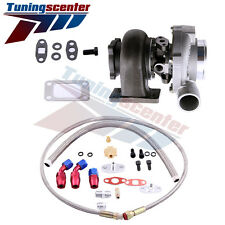 TCT GT3037 GT3076R 0.6A/R GT30 500+HP POLISHED TURBO CHARGER+OIL FEED+DRAIN LINE