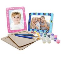 VHALE 4 Set Paint Your Own Photo Picture Frames with Stand Party Favor Kid Craft
