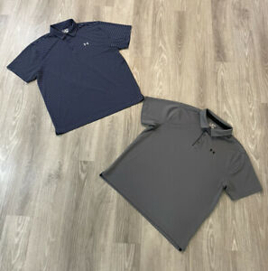 Lot Of 2 Under Armour Heat Gear Men's Polo Shirts Loose Size 2XL XXL