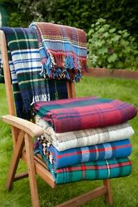 British Made Tartan Picnic blanket 100% wool sofa bed throw travel rug Tweedmill