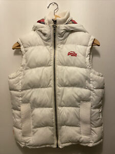 Superdry White Winter Gilet Size M
