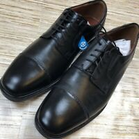 B-265 Johnson And Murphy Tillman Oxford Dress Shoes Black Leather Cap Toe 11M