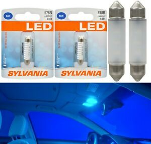 Sylvania Premium LED Light 578 Blue 10000K Two Bulbs Interior Dome Upgrade Lamp