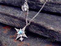 Silberkette mit Anhänger Stern Zirkonia Halskette Damen 925 Silber Kette