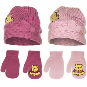 Baby Kinder Mütze Set mit Handschuhe Gr. 44 46 Winnie Puuh Strick Winter Herbst