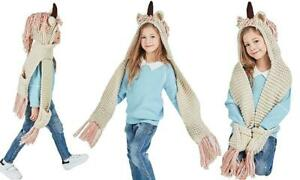 Kids Unicorn Winter Hat Scarf with Pockets