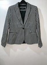 Zara Black/white Gingham Check Blazer Jacket Size XS Ref 7981/748 Ss18