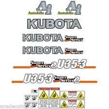 Kubota U35-3SS2 Decals  U35-3 Stickers, Kubota decals, Repro Decal Kit