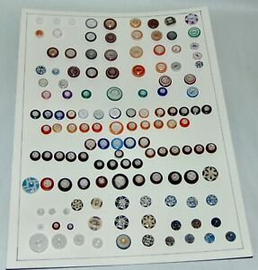 ANTIQUE China Buttons COLORFUL ASSORTMENT On Card LOT L