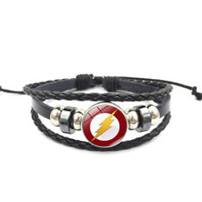 DC Comics' The Flash Adjustable Leather & Glass Cabochon Wristband