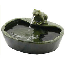 ASC Solar Powered Ceramic Green Frog Water Fountain Kit Garden Patio Bird