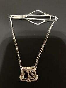 Vintage Tie Bar Clip with Chain Silver Color Initials FS
