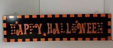 Happy Halloween Black Orange Painted Wall Hanging Sign Spiders 23.5 Inches Long