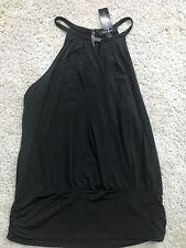 White House Black Market Women's NWT Sleeveless Top Blouse Shirt XL Black