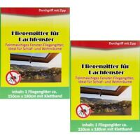 2x Fliegengitter Insektenschutz Mückengitter für Dachfenster Schwarz 150 x 180cm