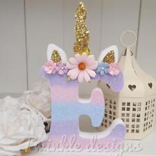 Ombre glitter unicorn girls freestanding wooden 15cm letter/name plaque gift