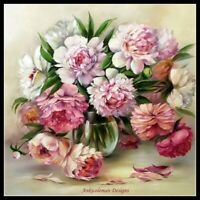 Peony in Vase - Chart Counted Cross Stitch Pattern Needlework Xstitch craft DIY