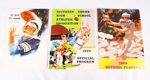 Lot of 3 Vintage High School Football Game Programs from Michigan, 1969, 1970