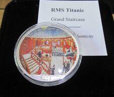 2005 RMS TITANIC COLOURED 1oz .999 SILVER EAGLE DOLLAR WITH Box/COA GRAND STAIRS