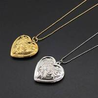 Photo Frame Memory Locket Pendant Necklace Romantic Heart Rose Flower Jewelry
