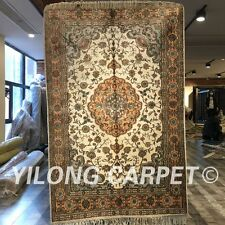 Yilong 4'x6' Handmade Carpets Vintage Hand Knotted Classic Silk Area Rug W231C