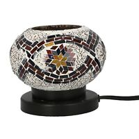 Handcrafted Sun Flower Pattern Small Mosaic Table Lamp with E 12 Holder