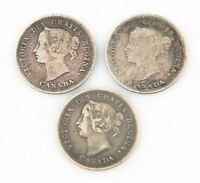 Canada 5 Cents Silver Coins Lot (3) 1899 VF+ 1894 VG+ 1886 VF 5C 5¢ KM#2