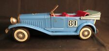 Vintage #81 Blue Convertible Tin Friction Toy Car, Cadillac Roadster, N-1929 Tag