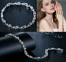 Ladies Cubic Zirconia Crystal Tennis Bracelet Silver Bridal Bridesmaid Jewellery