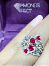 SALE! Fine Ruby Diamond Ring,18K Solid White Gold, Stunning Beautiful Party Ring