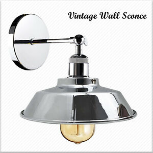 Retro Industrial  Chrome Wall Sconce Lamp Shade Adjustable Edison Wall Light