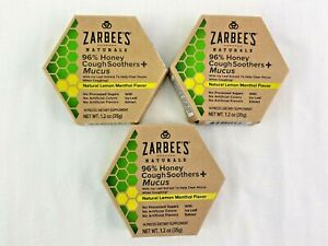 Zarbees Naturals Honey Cough Soother + Mucus Lemon Menthol Lot of 3 12/22
