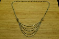 SILVER PLATED LOOSE ROPE CHAIN W/ DECORATIVE LAYERED DANGLE CABLE CHAIN NECKLACE