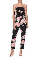 New ModCloth S M Moon Collection Black Floral Ruffle Cigarette Leg Slim Jumpsuit