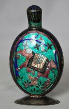 Antique Indian Sterling Silver Enamel Cloisonné Perfume Bottle - 76 Grams