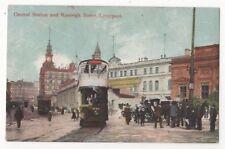 Central Station & Ranleigh Street Liverpool Vintage Postcard 856b
