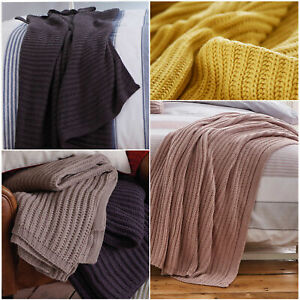 Catherine Lansfield CHUNKY KNIT Cosy Cable Knit Throw / Blanket 125cm x 150cm