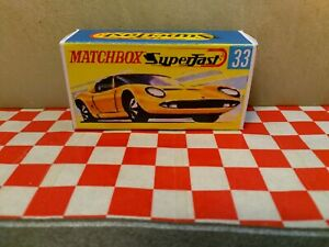 Matchbox Lesney Superfast No33 LAMBORGHINI MIURA  EMPTY Repro box NO  CAR