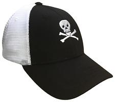 Skull & Crossbones Black & White Mid Profile Mesh Golf Trucker Cap Caps Hat Hats