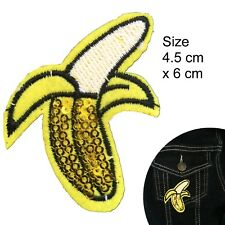 Peeled Banana Iron on patch sequin sparkle fruit embroidery iron-on patches
