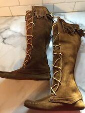 Women's Minnetonka Lace Up Fringe Moccasin Boots Chestnut Suede Sz 6