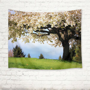 Spring Flowers Tree Green Grass Tapestry Wall Hanging Living Room Bedroom Dorm