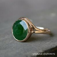925 Sterling Silver Natural Colombian Emerald Oval Shape Rose Gold Plated Ring