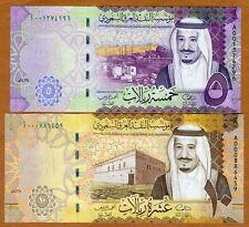 SET Saudi Arabia 5;10 Riyals 2016 P-New, Redesigned New King Salman A-Prefix UNC