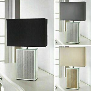 Modern Square Glitter Mirrored Base Fabric Shade Home Office Decor Table Lamp