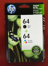 HP Genuine 64 Black and Tri-Color Combo-Pack Brand New Retail Box Free Shipping