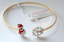 Snowman & Snowflake Tip Tennis Bracelet / Gold-tone / Adjusable
