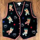 Dressbarn Ugly Christmas Vest Size 18-20 Reindeer Black Red Plaid Button Front